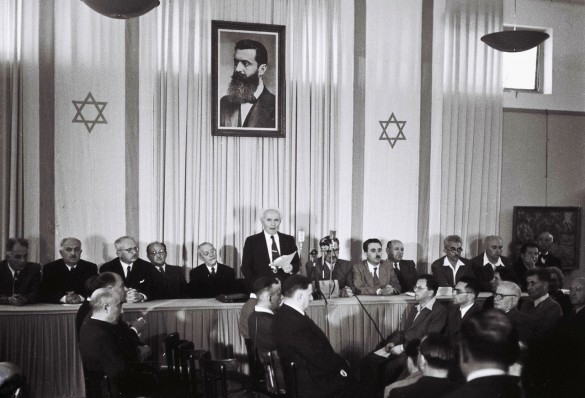 David Ben Gurion reads the Israeli 'Declaration of Independence' in Tel Aviv, 1948