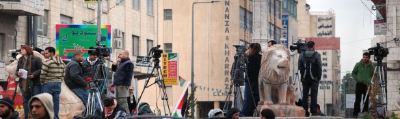 Palestine in the spotlight: international media gather in Manarah Square, Ramallah
