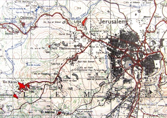 1943 map of Jerusalem showing Lifta to northwest
