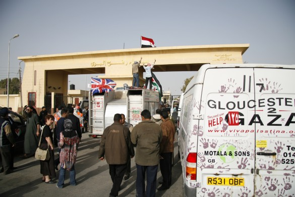 First Viva Palestina aid convoy arrives at Rafah terminal in March 2009