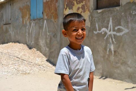 A Palestinian boy in Khan Younis refugee camp, Gaza Strip