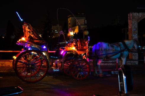 Horse carriages adorned with bright neon lights take families on rides through the city. (Sami Kishawi)