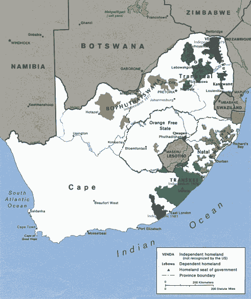 Map of the black homelands in South Africa, 1986