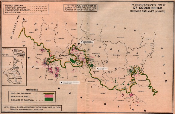 Diagrametic sketch map of border between West Bengal and East Pakistan