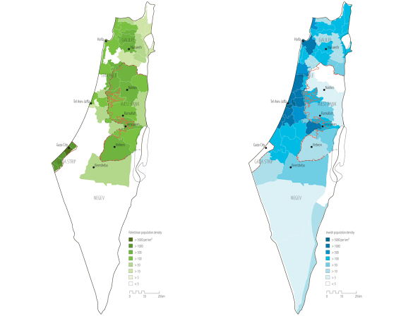 Palestinian and Jewish population densities in Israel-Palestine, 2009