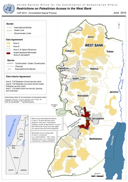 Mapping access restrictions in the West Bank, June 2010