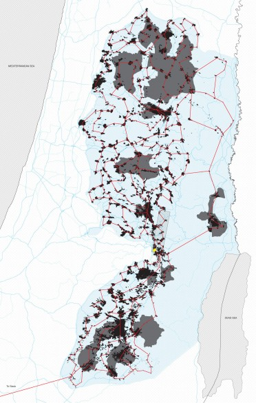 West Bank 'metro map' based on 'Area A' as defined by Oslo Accords