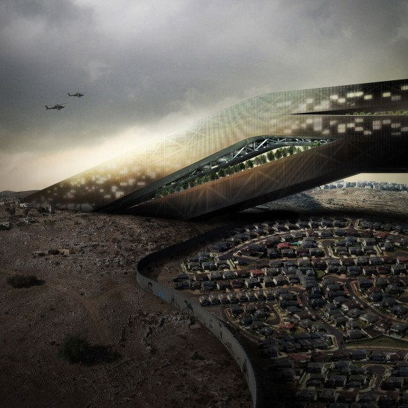 The project imagines a network of vast inhabitable bridges linking Palestinian enclaves