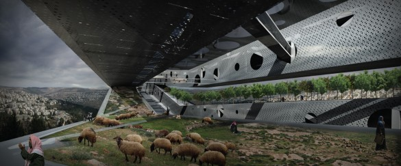 The multi-storey bridges are illustrated as housing agricultural landscapes