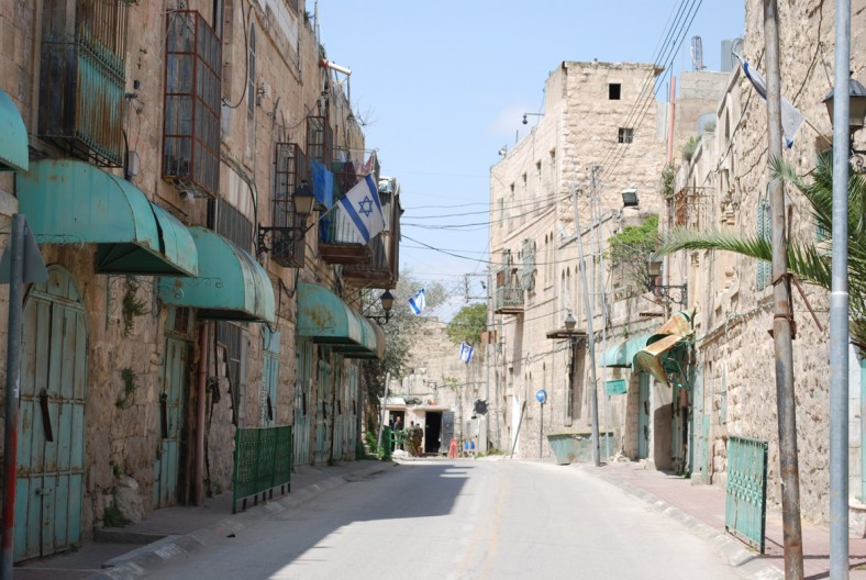 Inside the Palestinian restricted zone, the Israeli checkpoint from the previous image can be seen in the distance; Israeli flags indicate an expanding occupation (Brigitte Piquard)