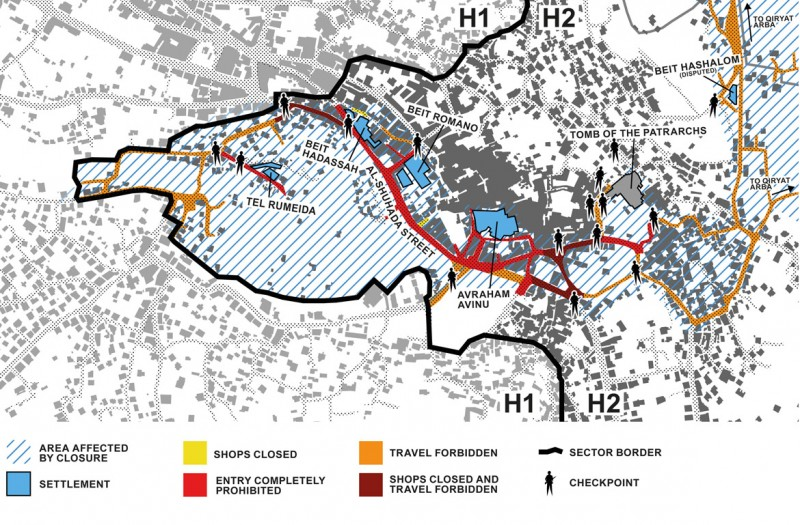 Map of restricted areas, settlements and checkpoints in the Old City (John Lewicki / Building Sumud Project)